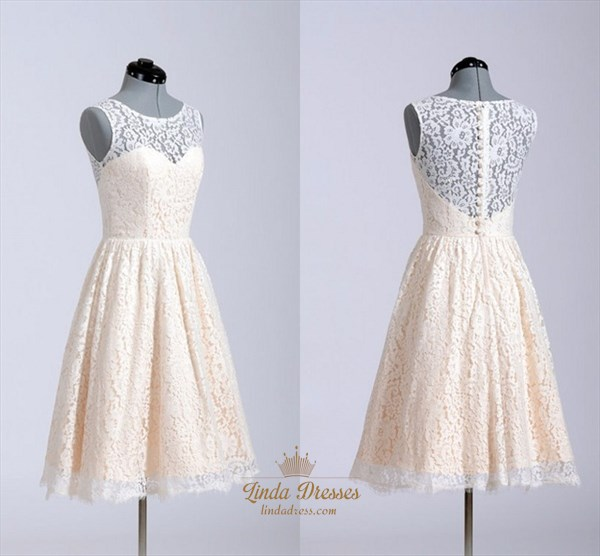 Lovely Illusion Neckline Sleeveless Short Lace A-Line Homecoming Dress