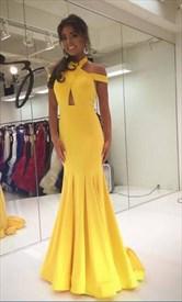 Yellow Elegant Halter Neck Mermaid Sleeveless Floor Length Prom Dress
