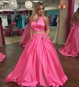 Show details for Two-Piece Hot Pink Sleeveless Halter V-Neck A-Line Satin Ball Gown