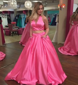 Two-Piece Hot Pink Sleeveless Halter V-Neck A-Line Satin Ball Gown