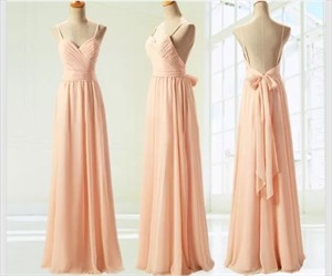 Spaghetti Strap V-Neck A-Line Open Back Bridesmaid Dress With Belt
