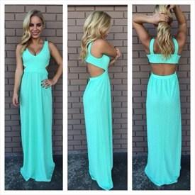 Turquoise Sleeveless Cut Out Waist Chiffon Floor-Length Evening Dress
