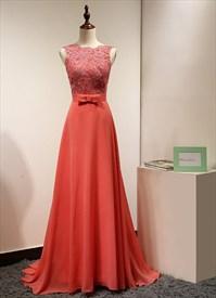 Coral Sleeveless Lace Bodice Chiffon Bottom V-Back A-Line Prom Dress