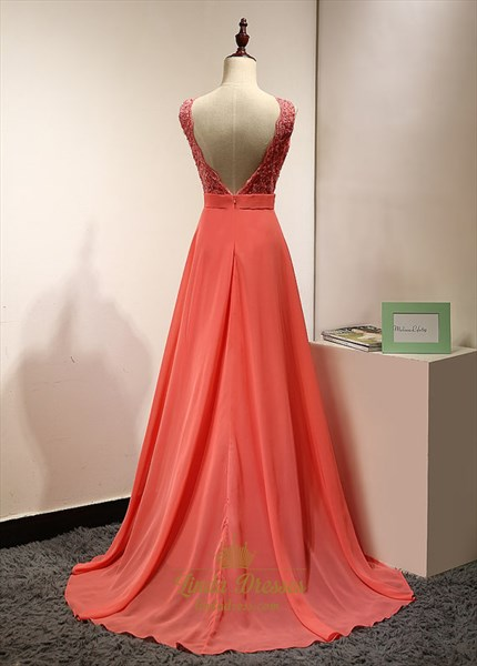 Coral Sleeveless Lace Bodice Chiffon Bottom V-Back A-Line Prom Dress