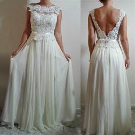 White Cap Sleeve Peplum Lace Bodice Chiffon Prom Dress With Open Back