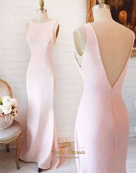 Blush Pink Simple Elegant Sleeveless V-Back Floor-Length Evening Dress