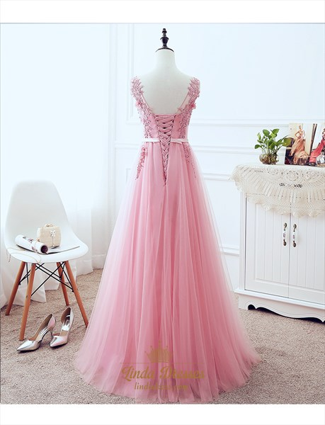 Sleeveless V-Neck Lace Applique Tulle A-Line Floor-Length Prom Dress