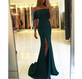 Elegant Emerald Green Off-The-Shoulder Side Split Chiffon Prom Dress