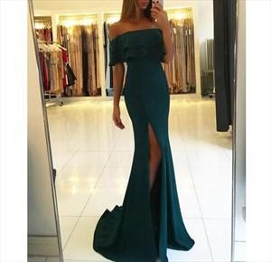 Elegant Emerald Green Off-The-Shoulder Side Split Chiffon Prom Dress