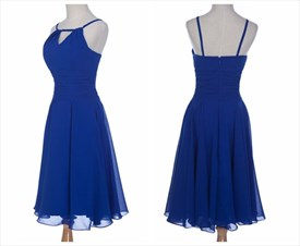 Royal Blue Short A-Line Sleeveless Spaghetti Strap Cocktail Dress
