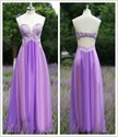 Lavender Strapless Lace Bodice A-Line Long Prom Dress With Cutouts
