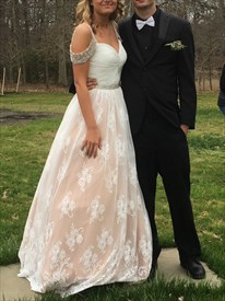 A-Line Floor Length Ruched Bodice Lace Prom Dress With Beaded Straps