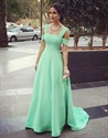 Mint Green Elegant A-Line Floor-Length Prom Dress With Square Neckline