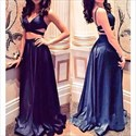 Navy Blue Sleeveless Two-Piece V-Neck A-Line Prom Dress With Cutouts