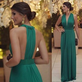 Elegant Emerald Green Sleeveless Deep V Neck Ruched Long Evening Dress