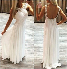 White Sleeveless Beaded Neck A-Line Chiffon Prom Dress With Open Back