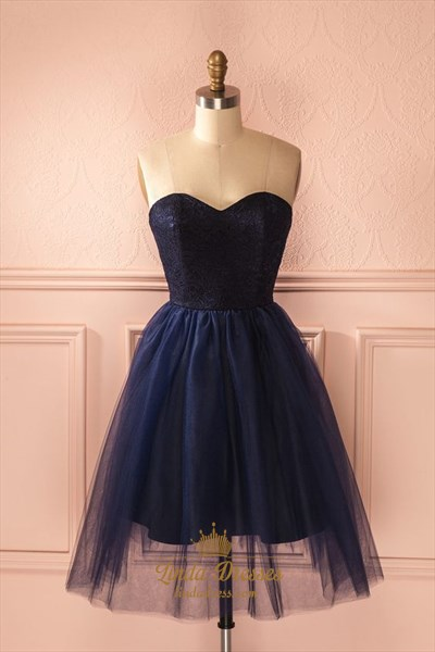 Cute Strapless Sweetheart Lace Bodice A-Line Short Homecoming Dress