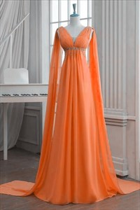 Orange Chiffon Sleeveless V-Neck A-Line Empire Waist Long Prom Dress