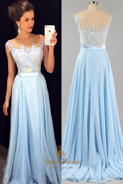 Light Blue Cap Sleeve Lace Bodice Long Prom Dress With Sheer Neckline