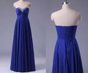 Royal Blue A-Line Strapless Empire Waist Beaded Neck Bridesmaid Dress