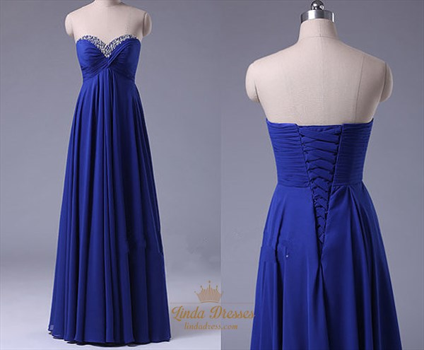 Royal Blue A-Line Strapless Empire Waist Beaded Neck Bridesmaid Dress