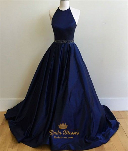 Simple Sleeveless Navy Blue Halter Beaded Waist A-Line Satin Ball Gown