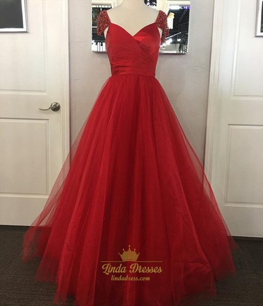 Show details for Burgundy Beaded Cap Sleeve V-Neck A-Line Prom Dress With Tulle Skirt