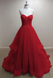 A-Line Strapless Sweetheart Floor-Length Tulle Prom Dress With Ruffles