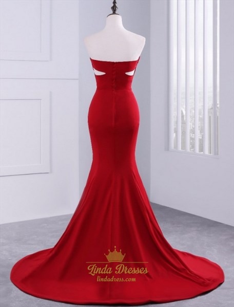 Burgundy Strapless Sleeveless Mermaid Prom Dress With Cut Out Waist