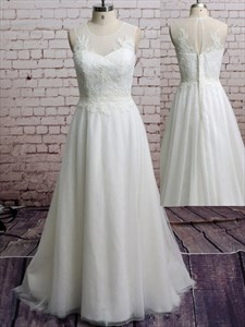 White Illusion Sleeveless Lace Bodice A-Line Floor-Length Prom Dress