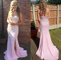 Elegant Pink Strapless Chiffon Floor-Length Evening Dress With Beading