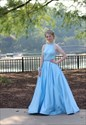 Aqua Blue Elegant Sleeveless A-Line Halter Floor-Length Prom Dress