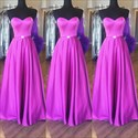 Show details for Simple Floor-Length A-Line Strapless Sweetheart Neck Satin Prom Dress