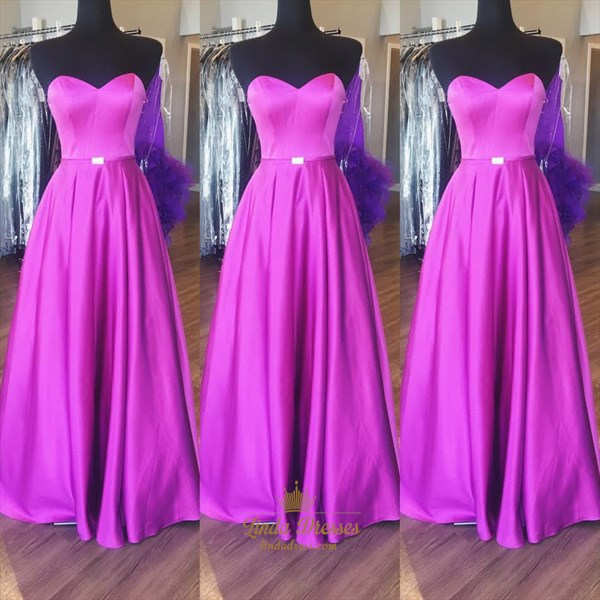 Simple Floor-Length A-Line Strapless Sweetheart Neck Satin Prom Dress