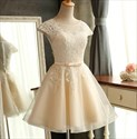 Illusion Lace Bodice Cap Sleeve A-Line Organza Short Homecoming Dress