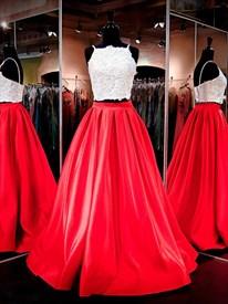 Two-Piece Sleeveless Spaghetti Strap Satin Prom Dress With Lace Bodice