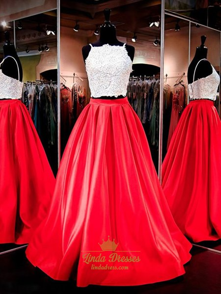 Two-Piece Sleeveless Spaghetti Strap Satin Prom Dress With Lace Bodice