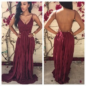 Spaghetti Strap Lace Bodice Ruched Chiffon Prom Dress With Open Back