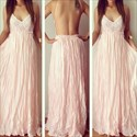 Show details for Spaghetti Strap Lace Bodice Ruched Chiffon Prom Dress With Open Back