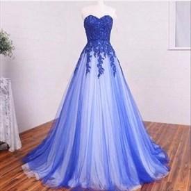 Strapless Floor-Length Royal Blue Lace Applique A-Line Formal Dress