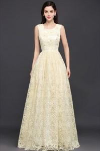 Light Yellow Sleeveless Beaded Lace A-Line Floor Length Prom Dress