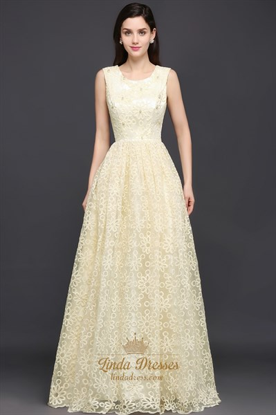 Light Yellow Sleeveless Beaded Lace A-Line Floor Length Prom Dress