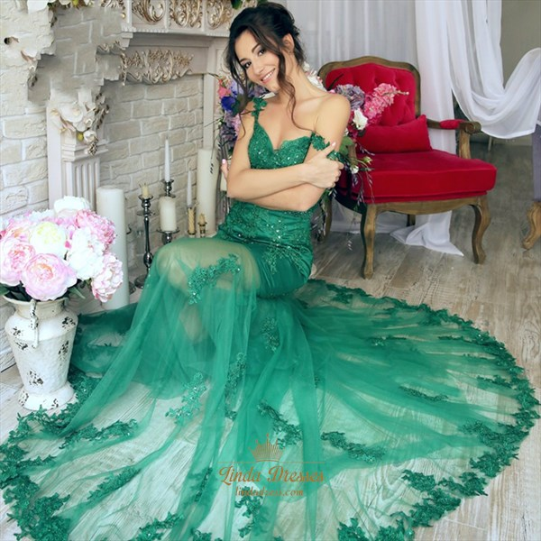 Show details for Illusion Emerald Green Off Shoulder Lace Applique Prom Gown With Train