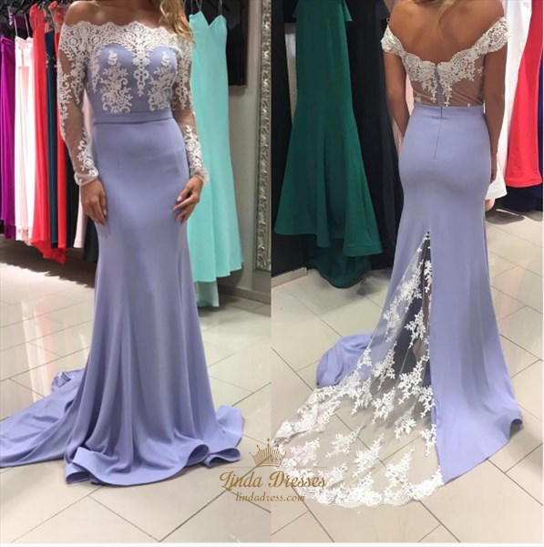 Off-The-Shoulder Lace Embellished Mermaid Prom Dress With Long Sleeves