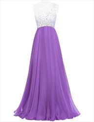 Purple One Shoulder Beaded Bodice Empire Waist A-Line Evening Dress