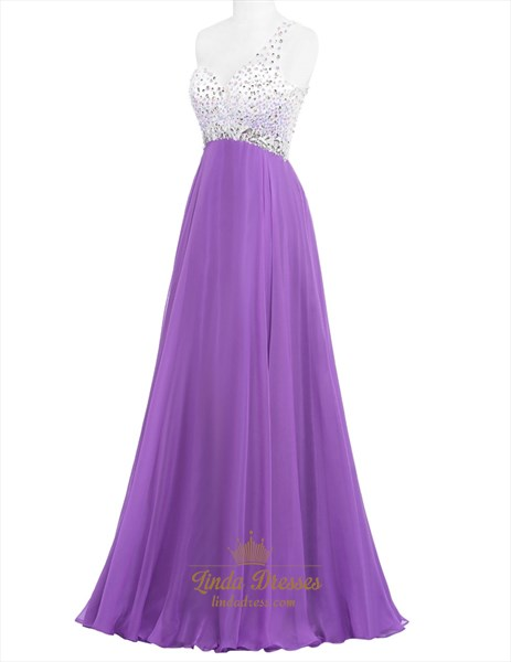 Purple One Shoulder Beaded Bodice Empire Waist A-Line Evening Dress