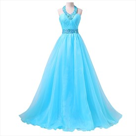 Aqua Blue Floor-Length Sleeveless A-Line Prom Dress With Beaded Halter