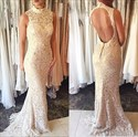 Sleeveless High-Neck Lace Mermaid Long Evening Dress With Keyhole Back