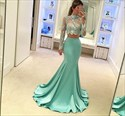 Show details for Two-Piece Illusion High-Neck Mermaid Evening Dress With Long Sleeves