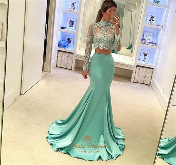 Two-Piece Illusion High-Neck Mermaid Evening Dress With Long Sleeves